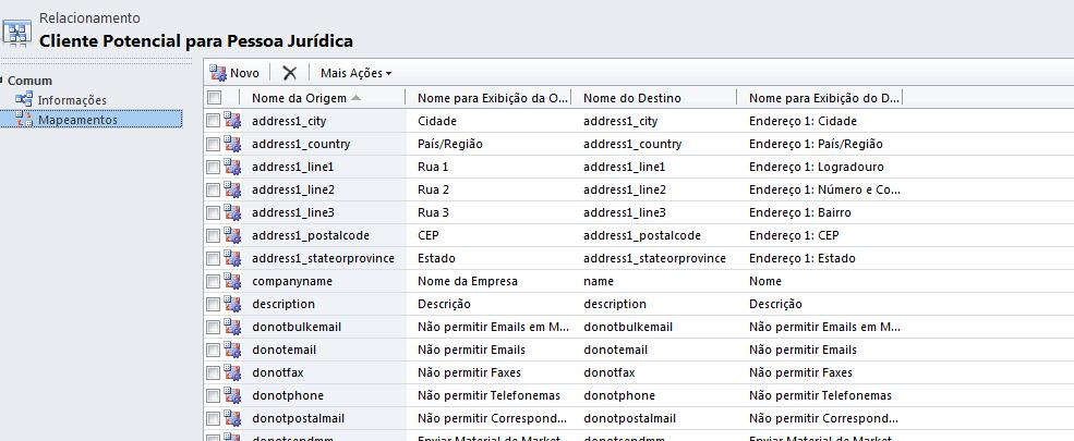 CRM 2011 - Mapeamento de Atributos (2/6)
