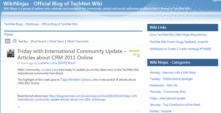 WikiNinjas - Official Blog of TechNet Wiki